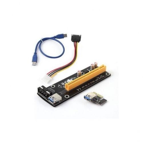 Контролер Estillo Riser Card 6 Pin, от PCI-E x1 към PCI-E x16 през USB 3.0, SATA/Molex захранване
